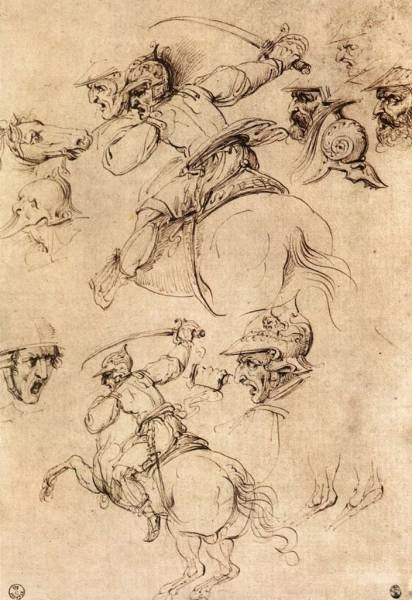 Leonardo da Vinci Study of battles on horseback